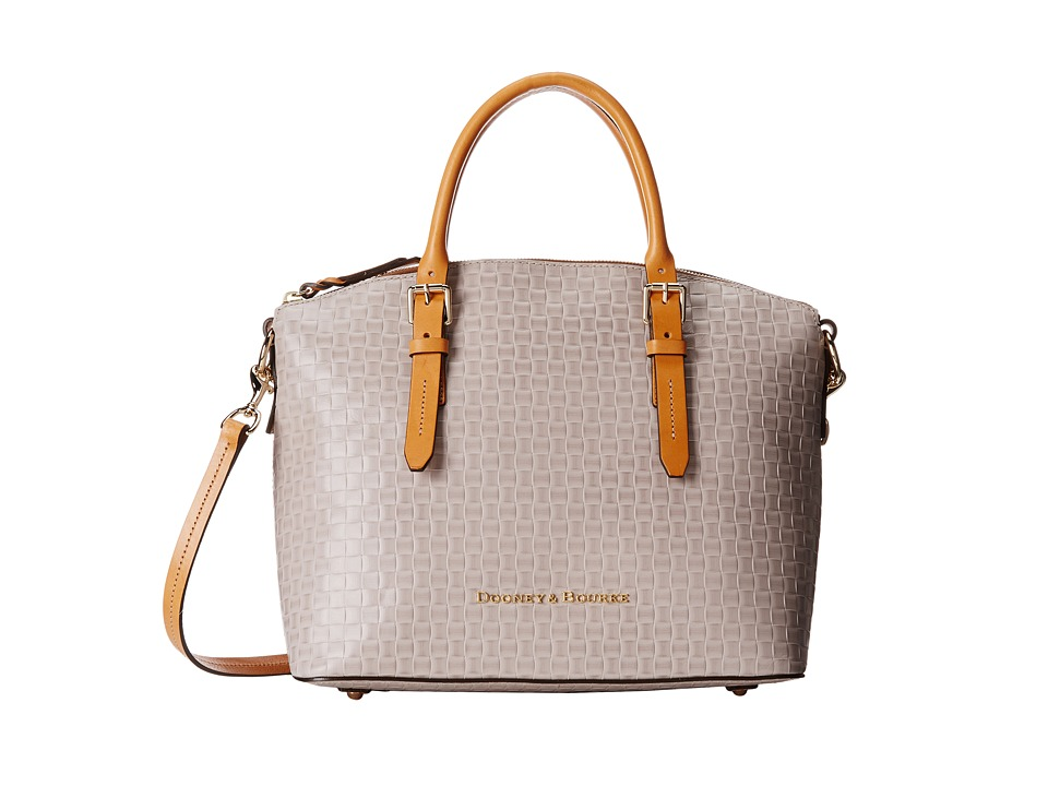 Dooney & Bourke - Claremont Woven Domed Satchel (Oyster w/ Butterscotch Trim) Satchel Handbags