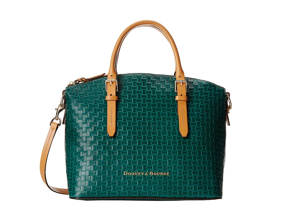 Dooney & Bourke - Claremont Woven Domed Satchel (Sage w/ Butterscotch Trim) Satchel Handbags