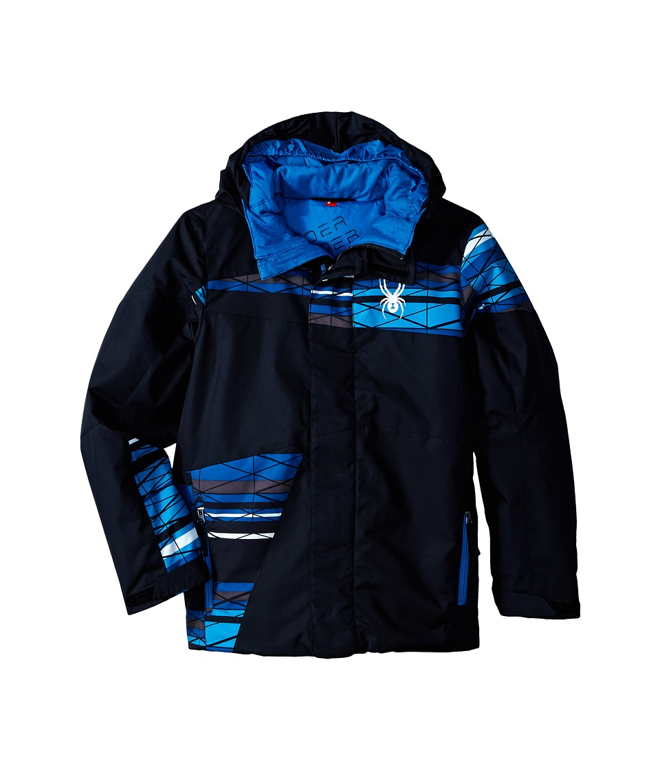Spyder Kids - Snap Jacket (Big Kids) (Black/Electric Blue Scaffolding/Concept Blue) Boy's Coat