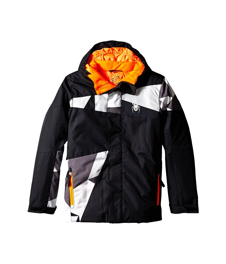 Spyder Kids - Snap Jacket (Big Kids) (Black/Black Faceted Print/Bryte Orange) Boy's Coat