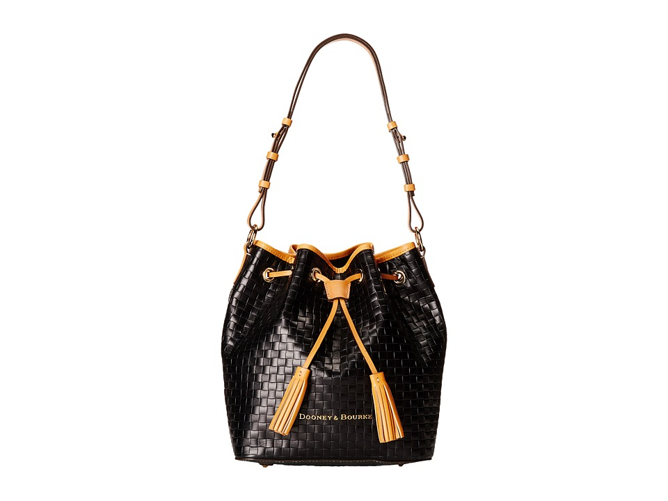 Dooney & Bourke - Claremont Woven Drawstring (Black w/ Butterscotch Trim) Drawstring Handbags