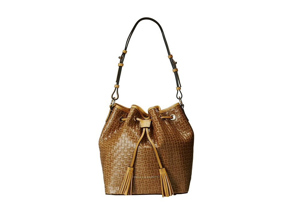 Dooney & Bourke - Claremont Woven Drawstring (Natural w/ Butterscotch Trim) Drawstring Handbags