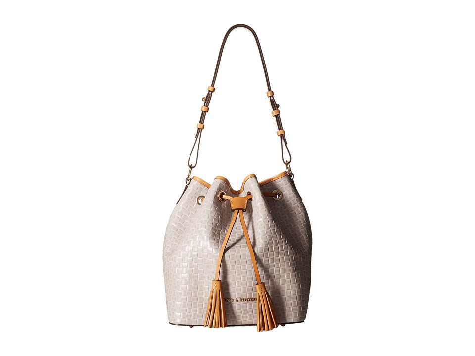 Dooney & Bourke - Claremont Woven Drawstring (Oyster w/ Butterscotch Trim) Drawstring Handbags