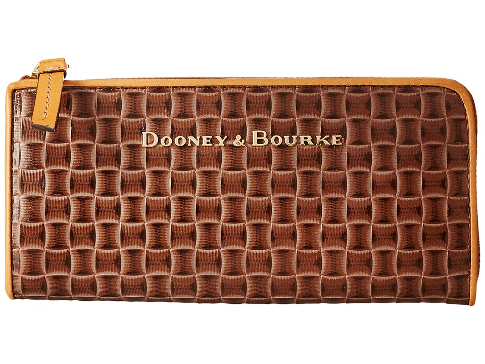 Dooney & Bourke - Claremont Woven Zip Clutch (Taupe w/ Butterscotch Trim) Clutch Handbags