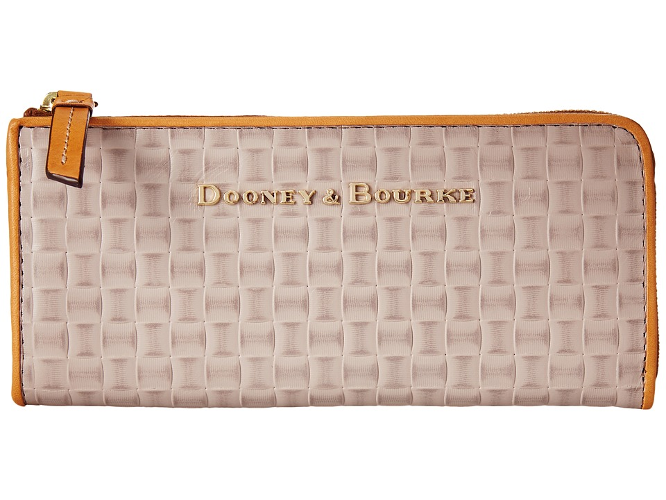 Dooney & Bourke - Claremont Woven Zip Clutch (Oyster w/ Butterscotch Trim) Clutch Handbags