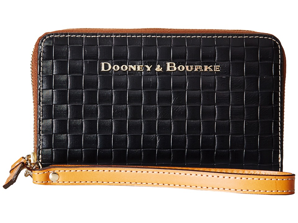 Dooney & Bourke - Claremont Woven Zip Around Phone Wristlet (Black w/ Butterscotch Trim) Wristlet Handbags