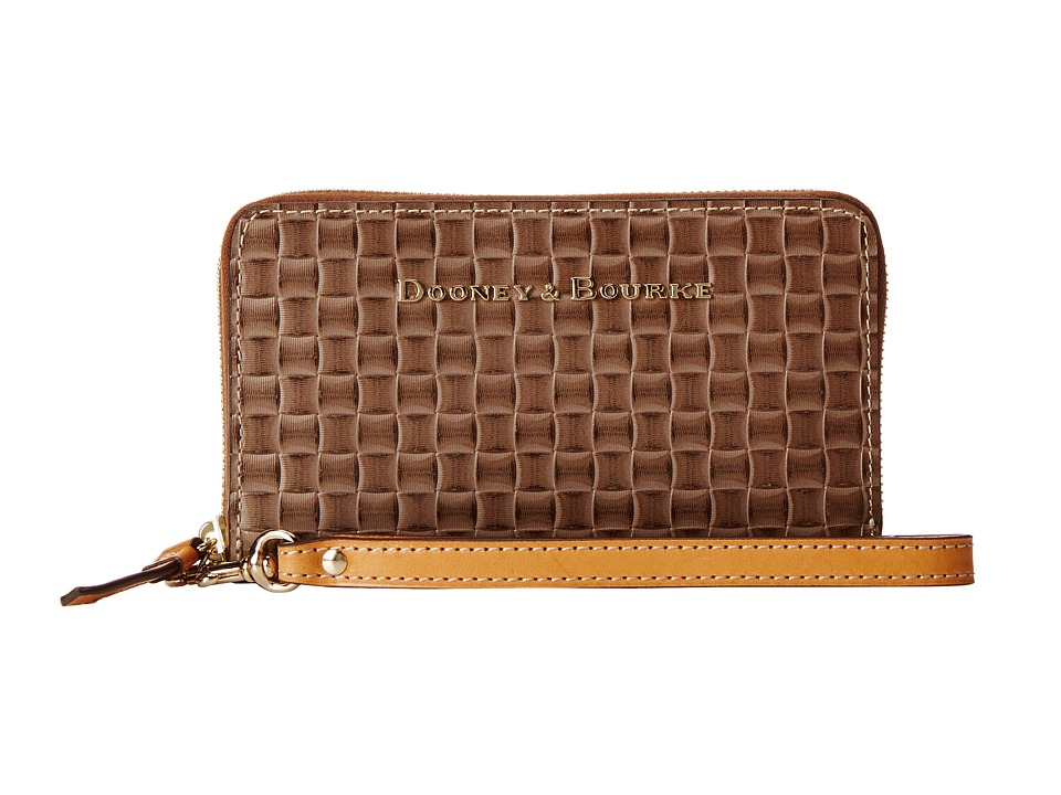 Dooney & Bourke - Claremont Woven Zip Around Phone Wristlet (Taupe w/ Butterscotch Trim) Wristlet Handbags