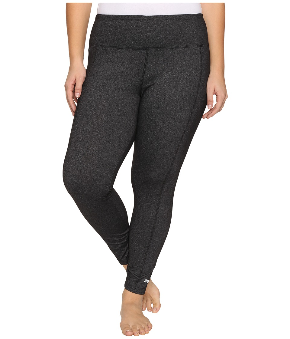 Marika Curves - Plus Size High Rise Tummy Control Leggings (Heather Black) Women's Workout