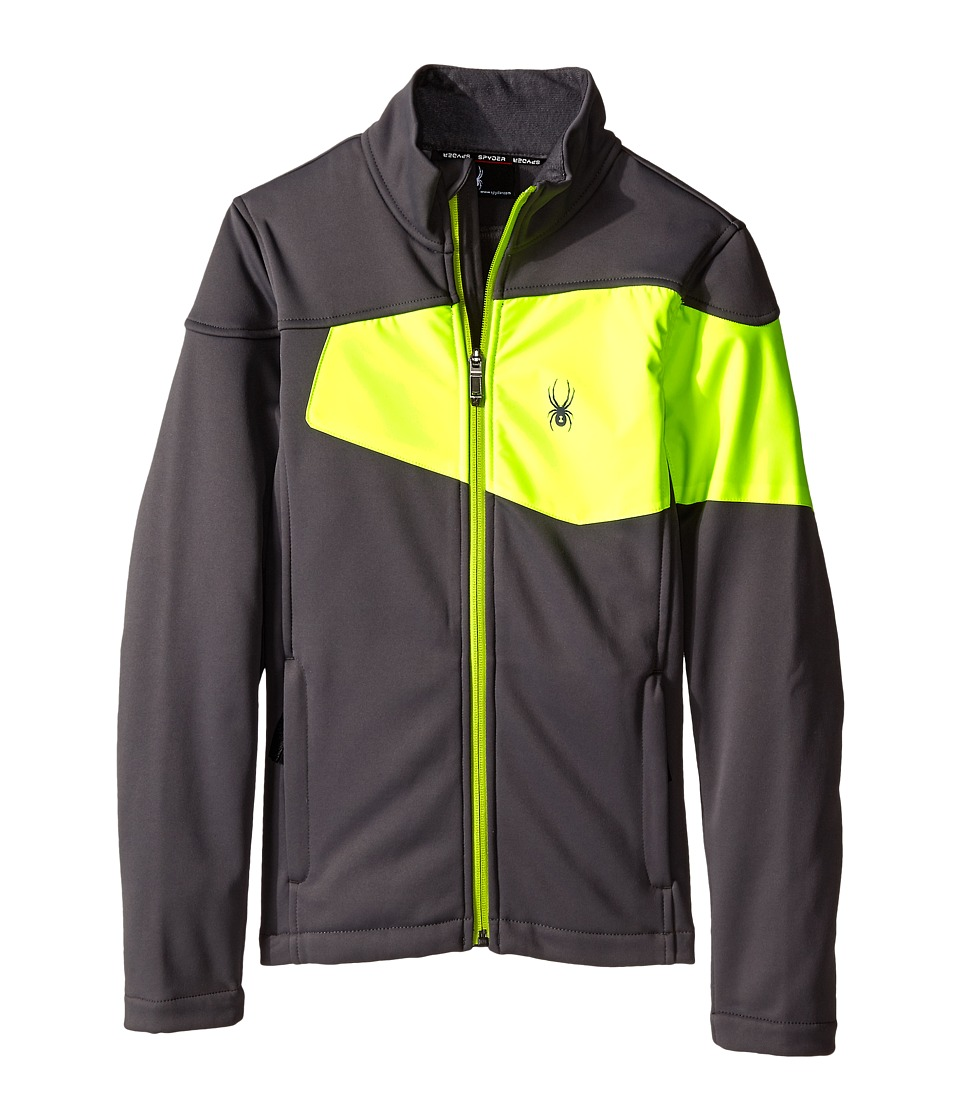 Spyder Kids - Acceler Fleece Jacket (Big Kids) (Polar/Bryte Yellow/Theory Green) Boy's Coat