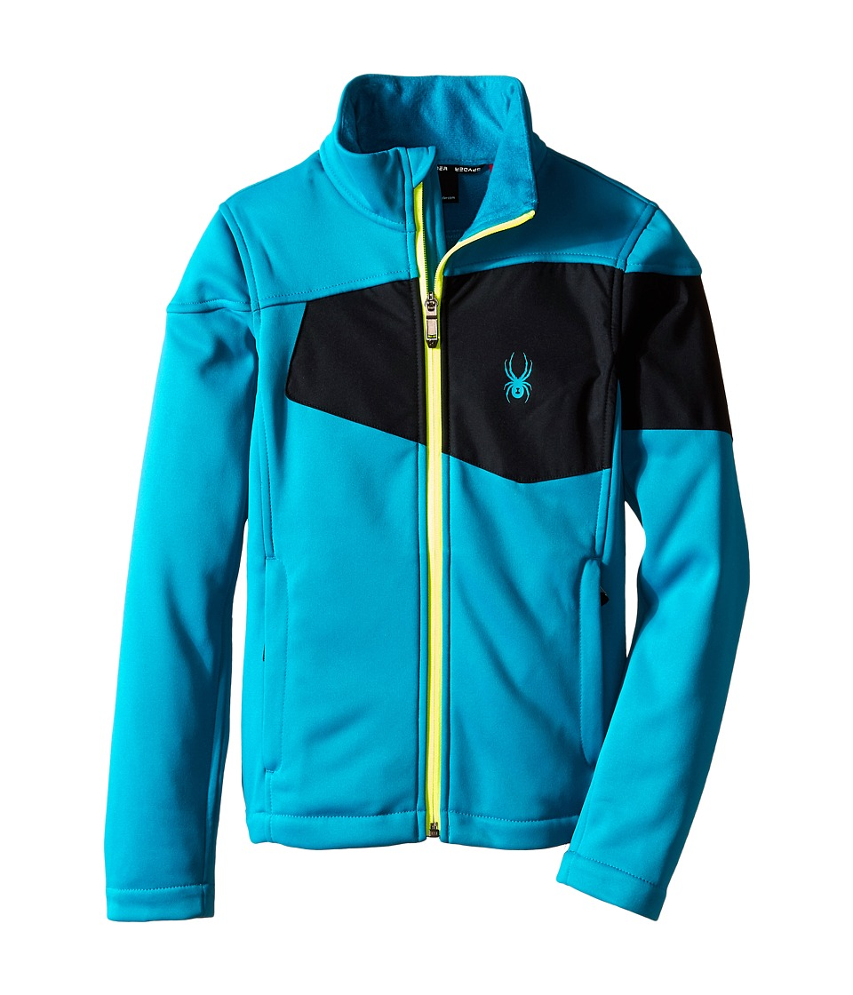 Spyder Kids - Acceler Fleece Jacket (Big Kids) (Concept Blue/Black/Bryte Yellow) Boy
