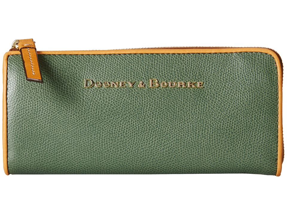 Dooney & Bourke - Claremont Zip Clutch (Sage w/ Butterscotch Trim) Clutch Handbags