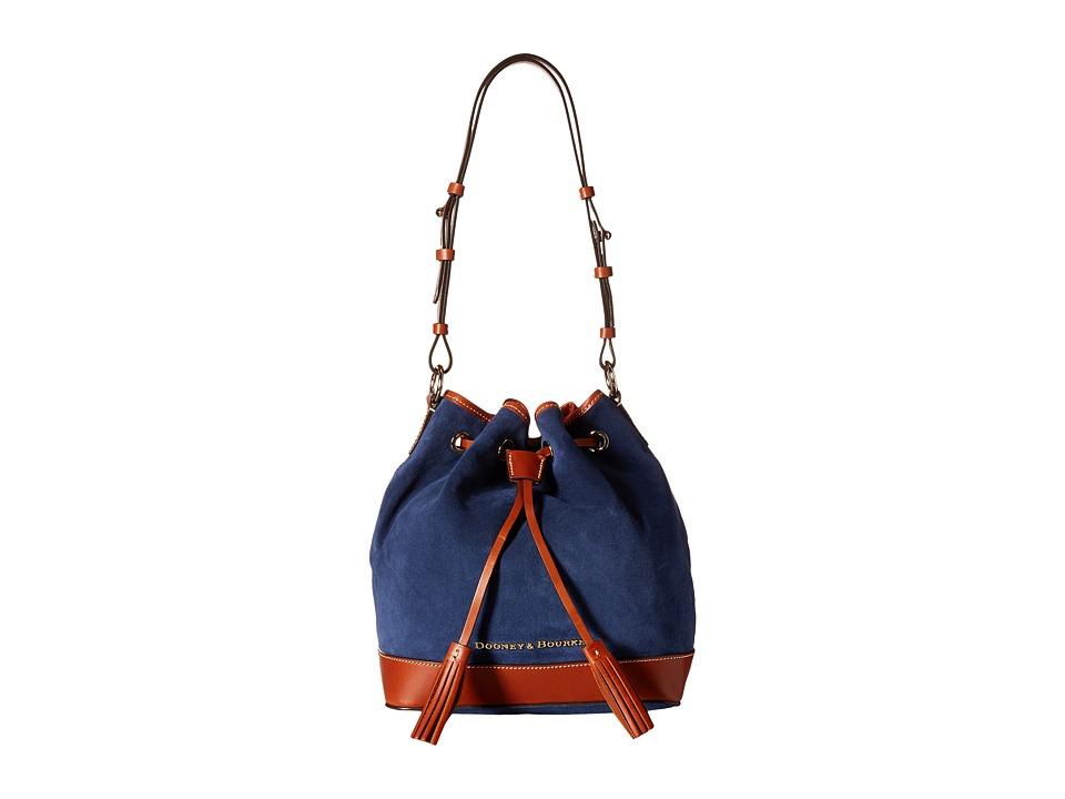 Dooney & Bourke - Suede Drawstring (Navy w/ Tan Trim) Drawstring Handbags