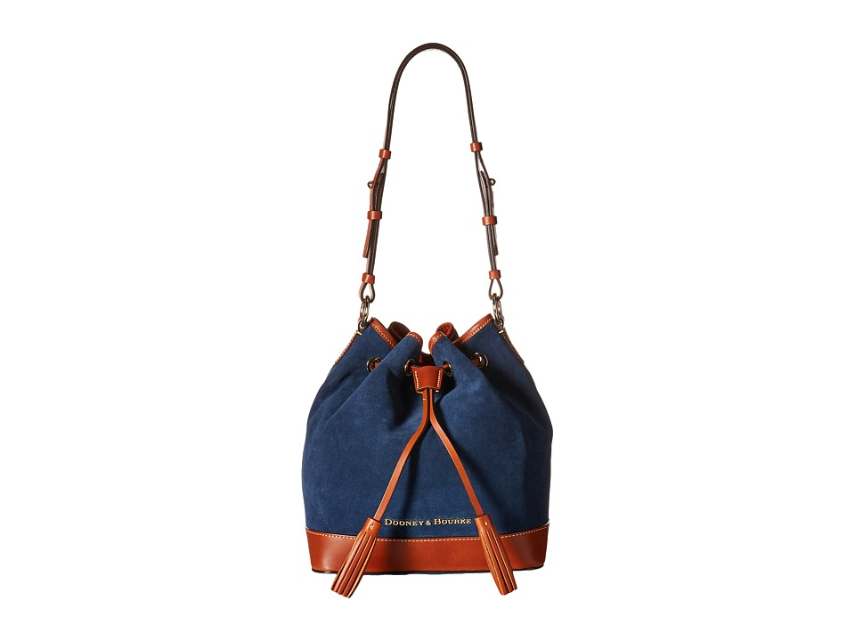 Dooney & Bourke - Suede Drawstring (Royal Blue w/ Tan Trim) Drawstring Handbags