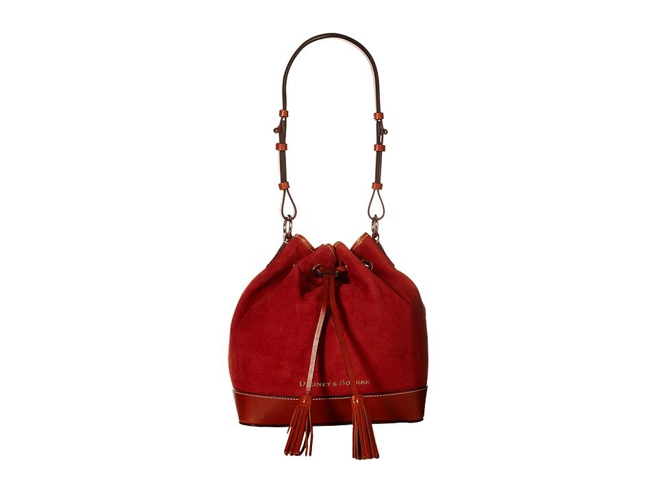 Dooney & Bourke - Suede Drawstring (Brick w/ Tan Trim) Drawstring Handbags