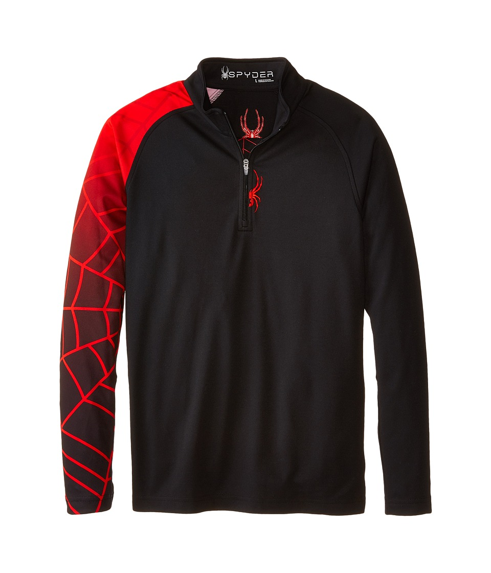 Spyder Kids - Linear Web Dry W.E.B. T-Neck (Big Kids) (Black/Volcano) Boy's Long Sleeve Pullover