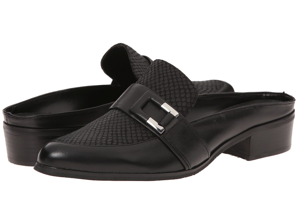 Tahari - Lynn (Black/Black Leather/Breach Print Leather) Women's Dress Flat Shoes