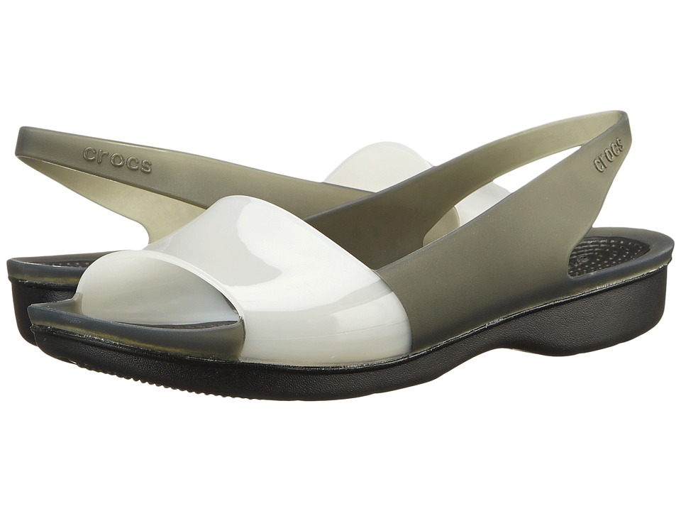 Crocs - Color Block Translucent Slingback Flat (Black/Stucco) Women's Sling Back Shoes