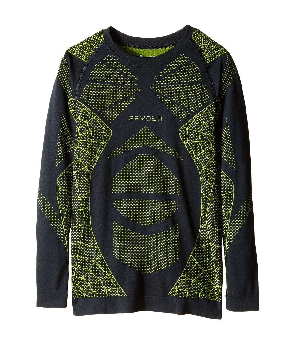 Spyder Kids - Racer Long Sleeve Top (Little Kids/Big Kids) (Black/Theory Green) Boy's Long Sleeve Pullover