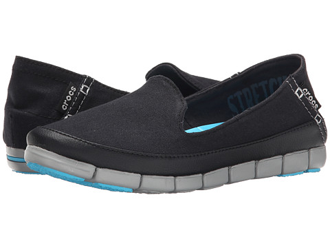 Crocs - Stretch Sole Skimmer (Black/Light Grey) Women's Shoes