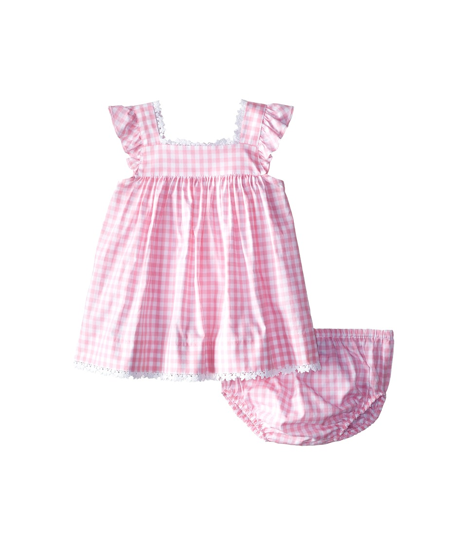 Oscar de la Renta Childrenswear - Check Cotton Frill Sleeve Dress (Infant) (Peony) Girl's Dress