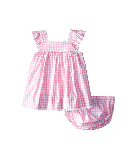 Oscar de la Renta Childrenswear - Check Cotton Frill Sleeve Dress (Infant) (Peony) Girl