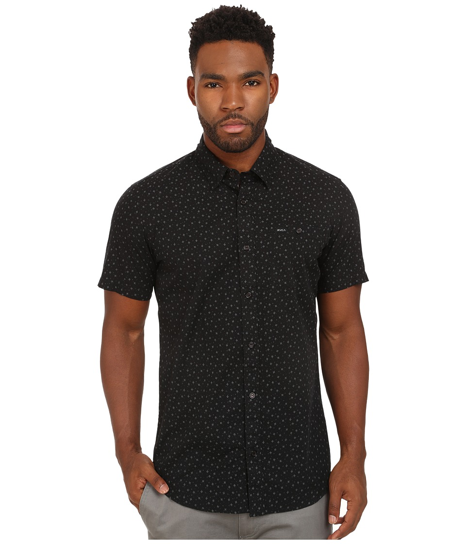RVCA - Pox Short Sleeve Woven (Black) Men's Short Sleeve Button Up