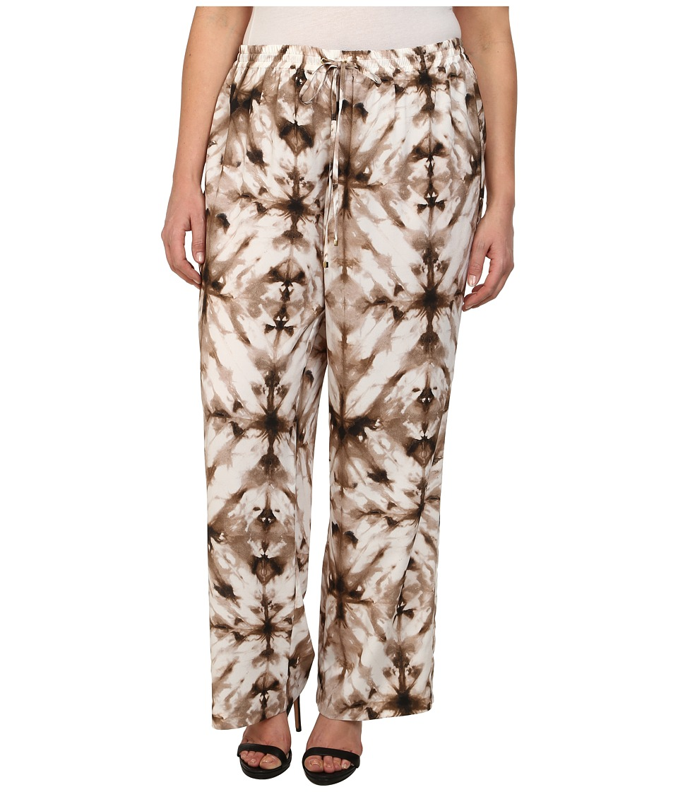 Calvin Klein Plus - Plus Size Printed Wide Leg Pants (Soft White/Latte Combo) Women's Casual Pants