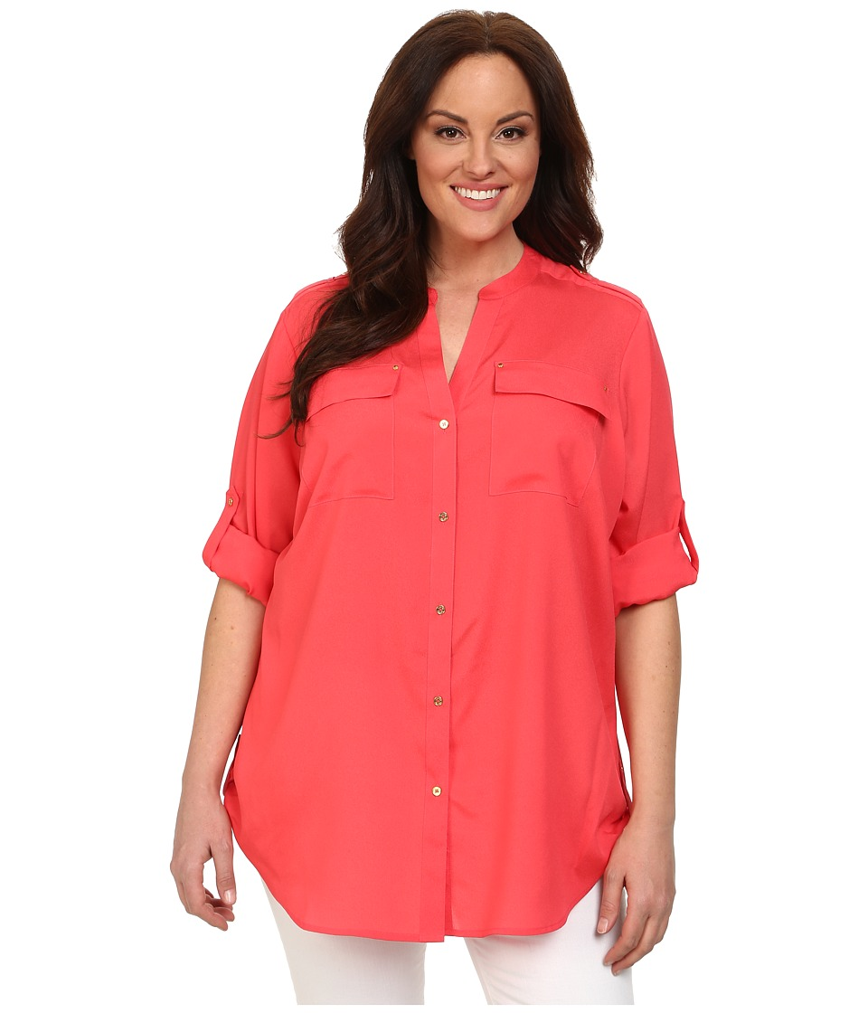Calvin Klein Plus - Plus Size Crew Neck Roll Sleeve (Watermelon) Women's Blouse