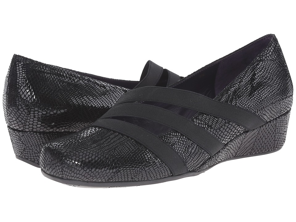 Vaneli - Moki (Black Patchwork Print) Women's Slip on Shoes