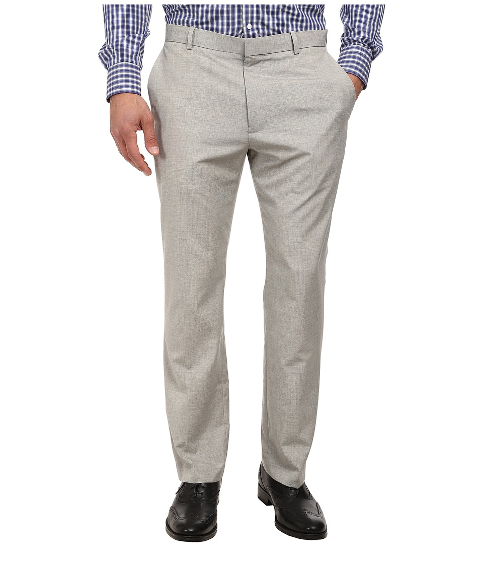 Perry Ellis - End On End Flat Front Dress Pants (Alloy) Men's Dress Pants