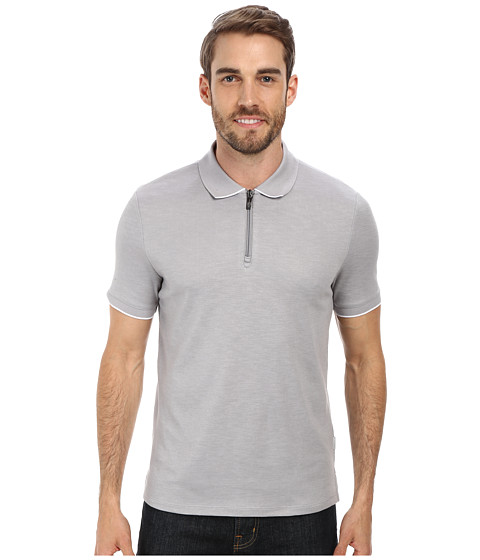 Perry Ellis - Textured Pique Zipper Polo (Alloy) Men