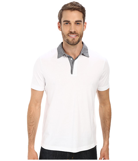 Perry Ellis - Pima Cotton Oxford Collar Polo (Bright White) Men