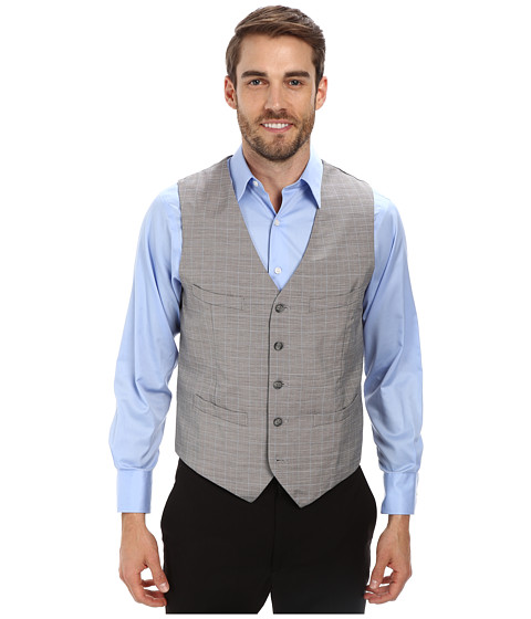 Perry Ellis - Micro Check Suit Vest (Alloy) Men's Vest