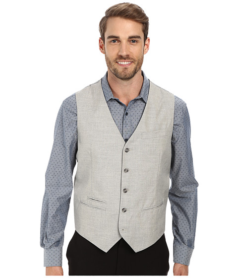 Perry Ellis - End On End Suit Vest (Alloy) Men