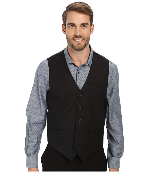 Perry Ellis - Textured Solid Suit Vest (Black) Men