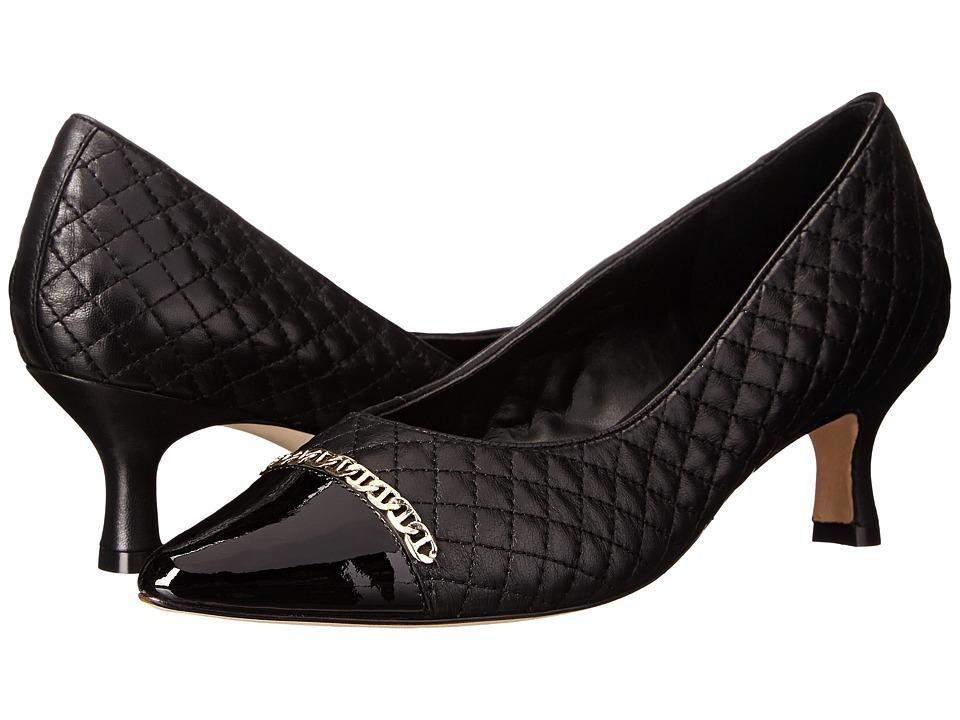 Vaneli - Pamela (Black Nappa/Black Mag Patent/Gold Chain) Women's 1-2 inch heel Shoes