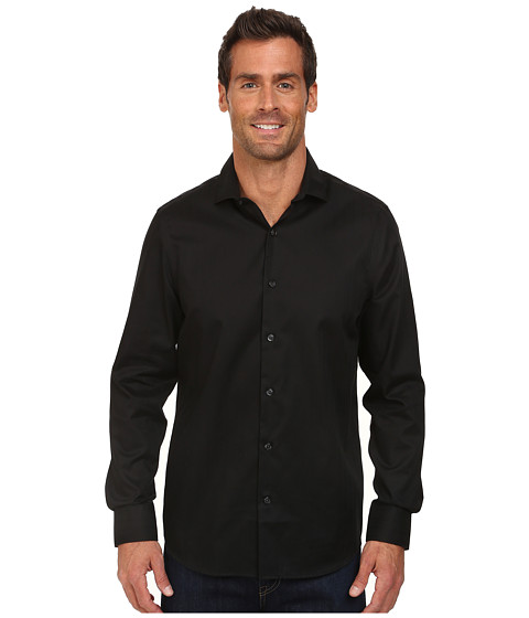 Perry Ellis - Slim Fit Non-Iron Texture Dobby Shirt (Black) Men's Clothing