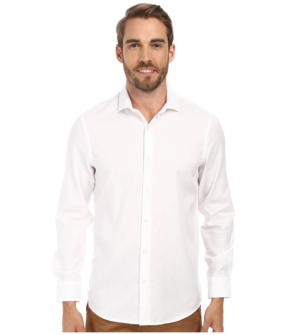 Perry Ellis - Slim Fit Non-Iron Texture Dobby Shirt (Bright White) Men's Clothing