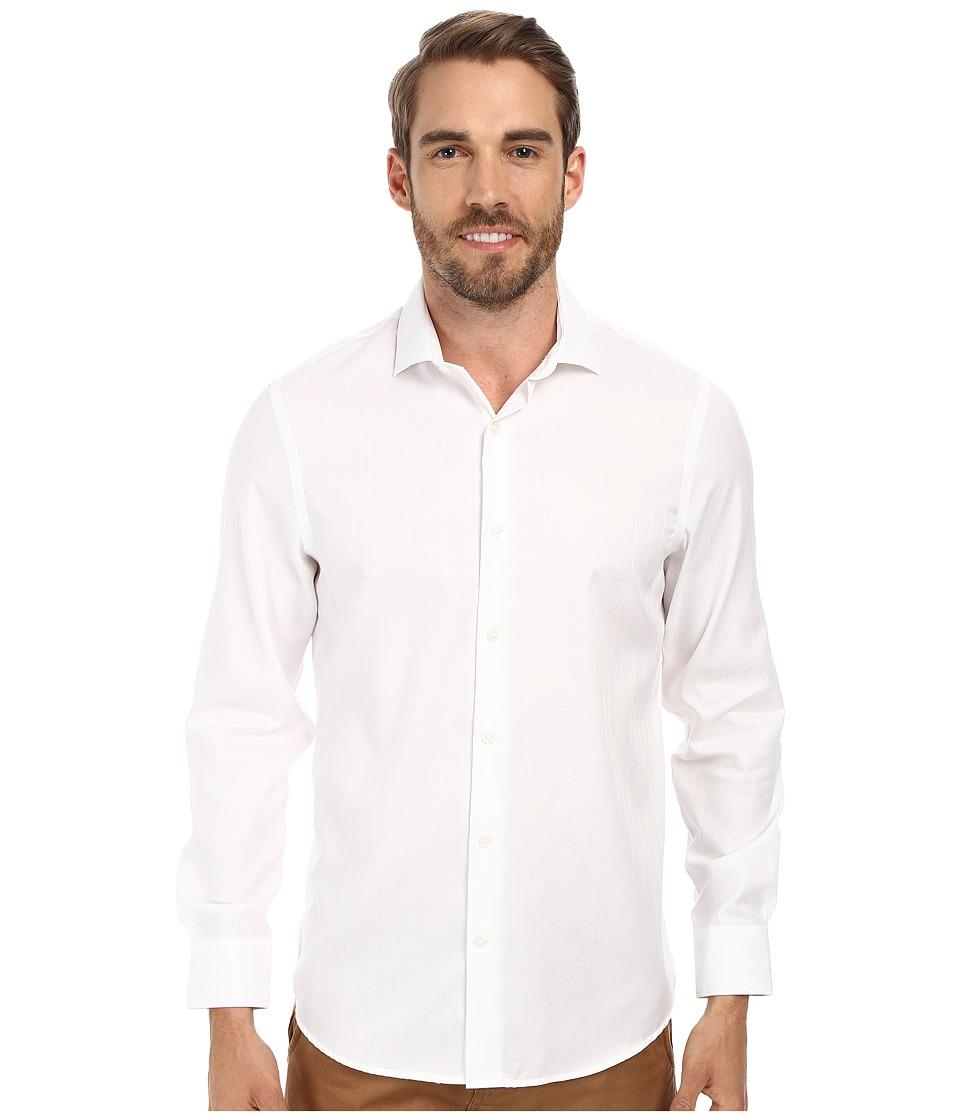 Perry Ellis - Slim Fit Non-Iron Texture Dobby Shirt (Bright White) Men's Clothing