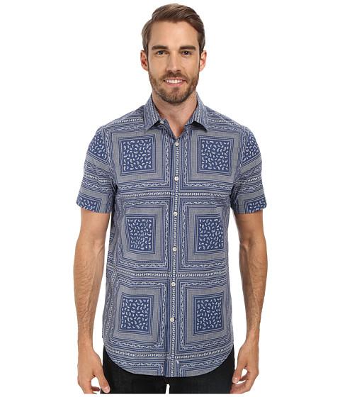 Perry Ellis - Short Sleeve Paisley Print Shirt (Coastal Fjord) Men's Clothing