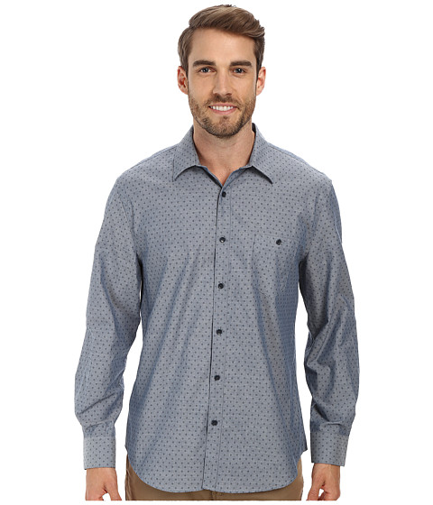 Perry Ellis - Long Sleeve Printed Chambray Shirt (Medium Indigo) Men