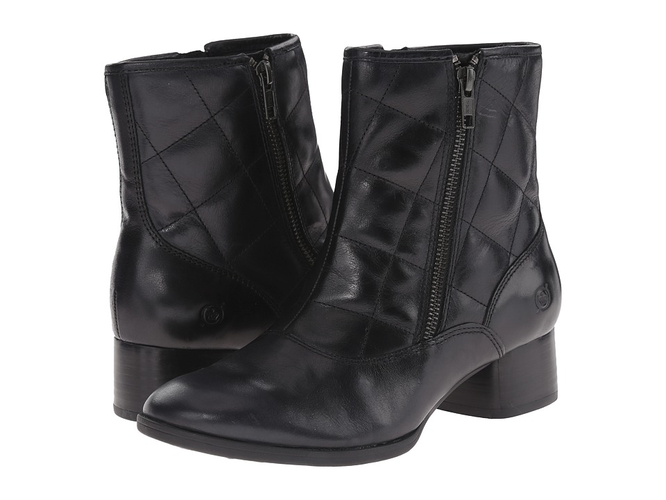 Born - Minna (Black Full Grain Leather) Women's Zip Boots