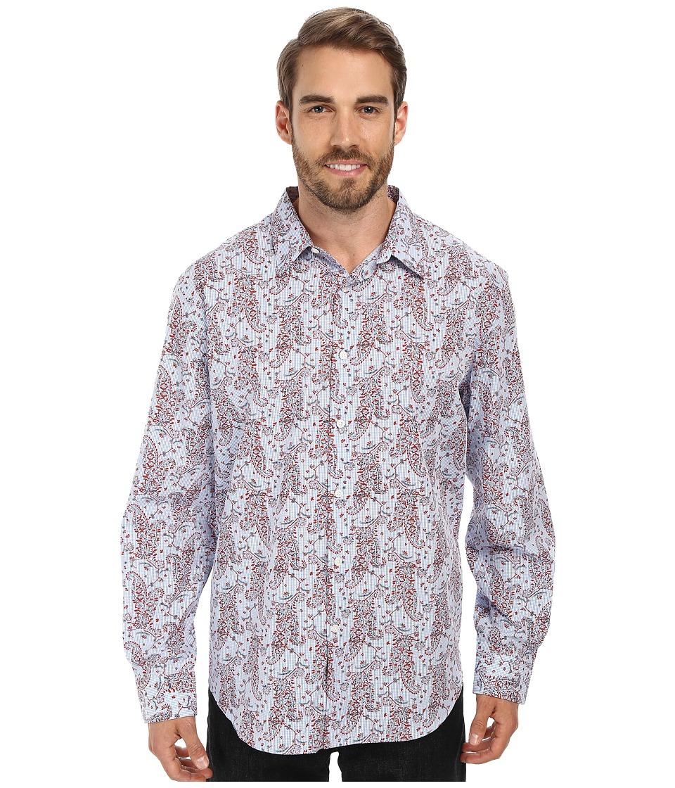 Perry Ellis - Long Sleeve Gingham Paisley Print Shirt (Aurora Red) Men