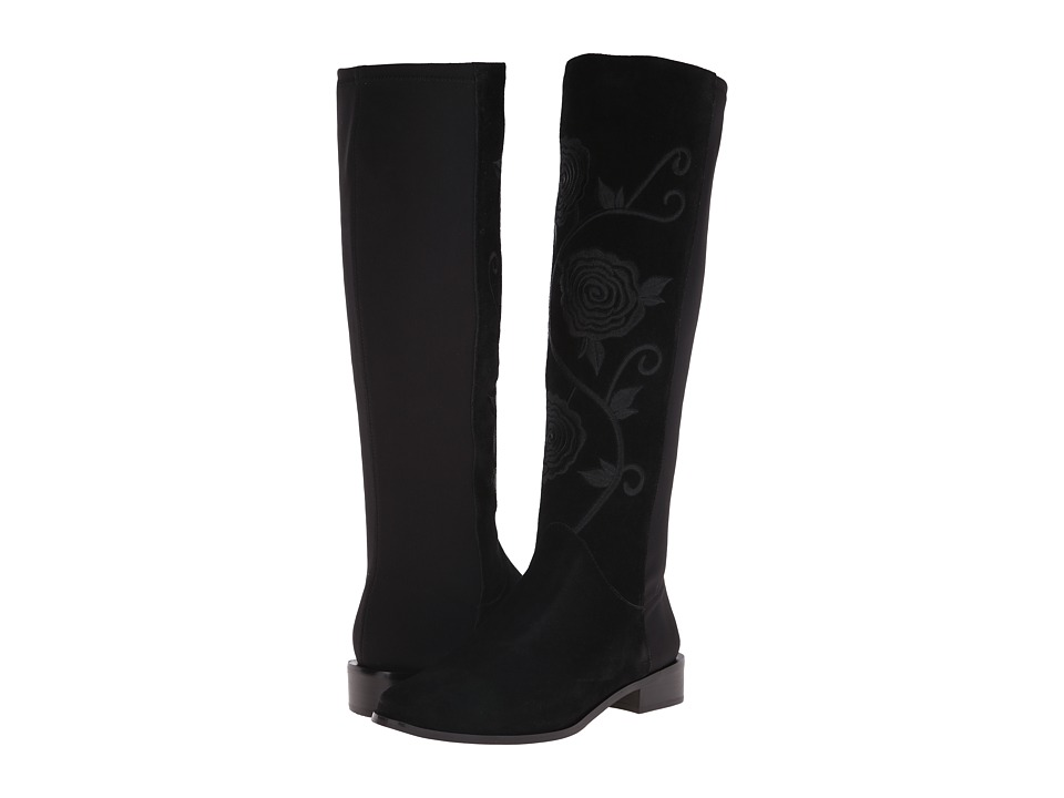 Vaneli - Radius (Black Nival Suede/Black Nicole Stretch/Black Embroidery) Women's Boots
