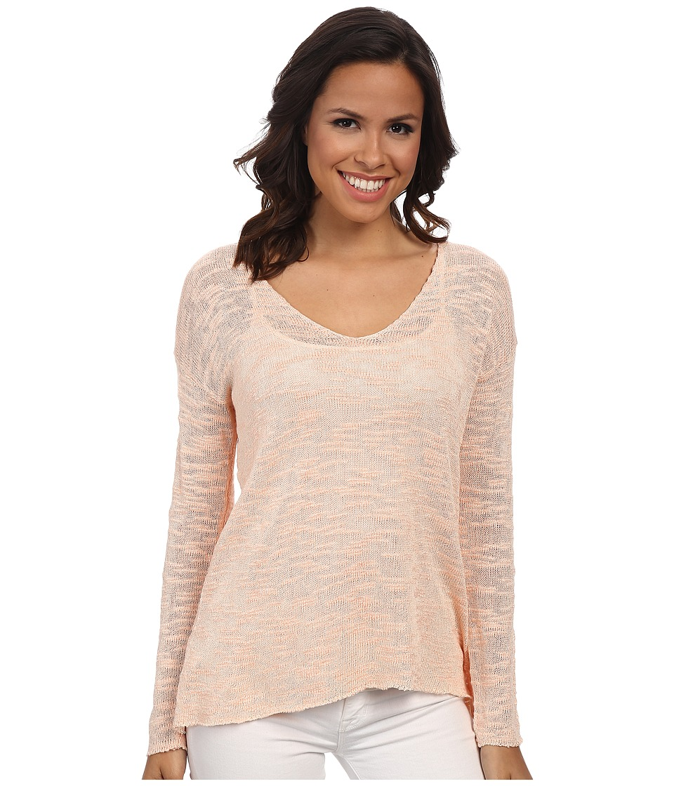525 america - Slub Yarn V-Neck (Melon) Women's Clothing