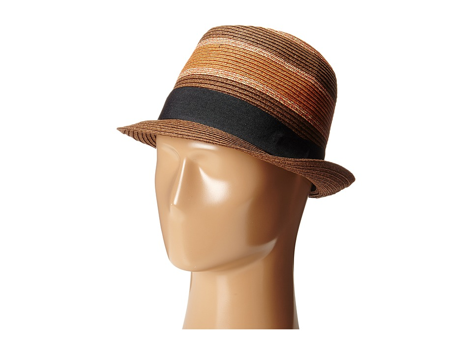 Scotch & Soda - Retro Striped Straw Hat (Brown) Caps