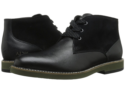 Armani Jeans - Saffiano Leather Chukka Boot (Black) Men's Lace-up Boots