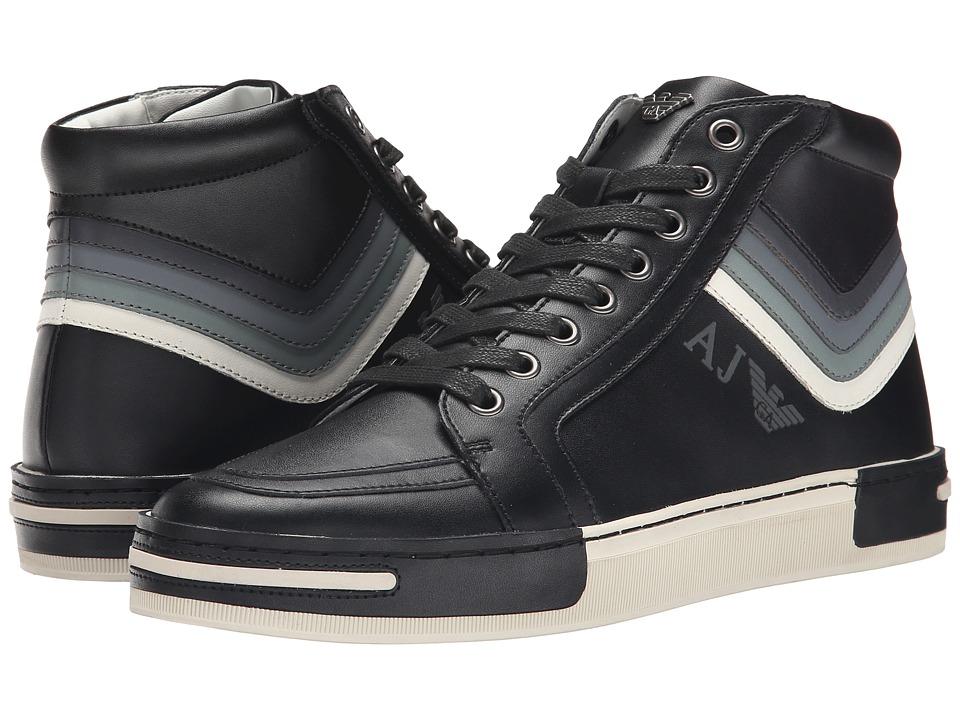 Armani Jeans - Striped Hi-Top (Black Multi) Men's Lace up casual Shoes