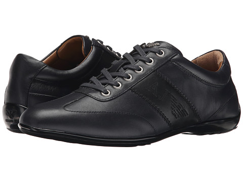 Armani Jeans - Leather Lace-Up Driver (Navy) Men