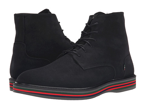Armani Jeans - Made in Italy Suede Boot (Black) Men's Lace-up Boots